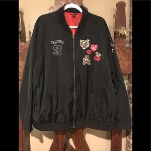 Torrid Rockabilly Black Cherry Bomber Jacket.